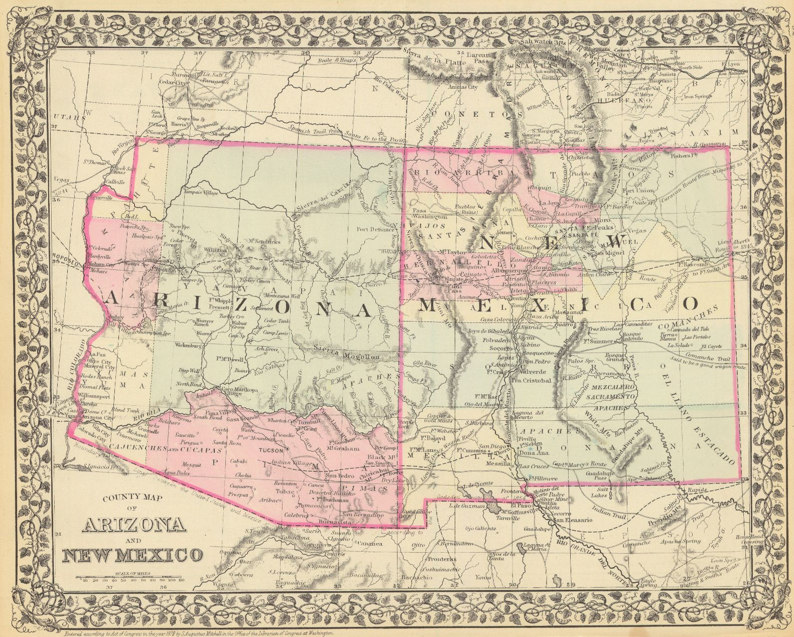 Map Of Just Arizona.County Map Of Arizona And New Mexico Mitchell S A 1879 Colored