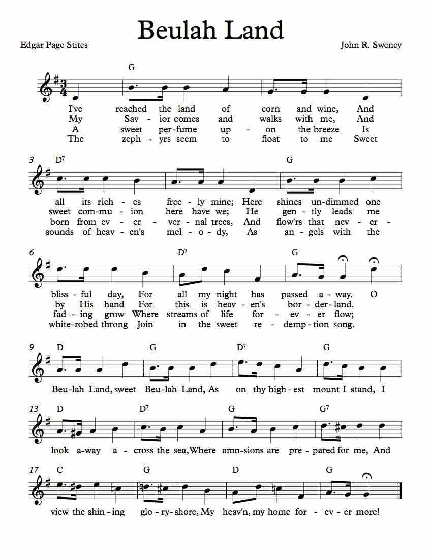 Free Sheet Music For Beulah Land Enjoy With Images Hymn
