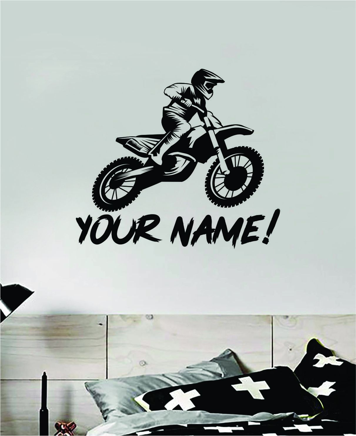 Custom Dirtbike Name Sports Decal Sticker Bedroom Room Wall Vinyl Art Home Decor Teen Kids Nursery Sports Moto X Rider Biker BMX Dirtbiker Customized Personalized - grey