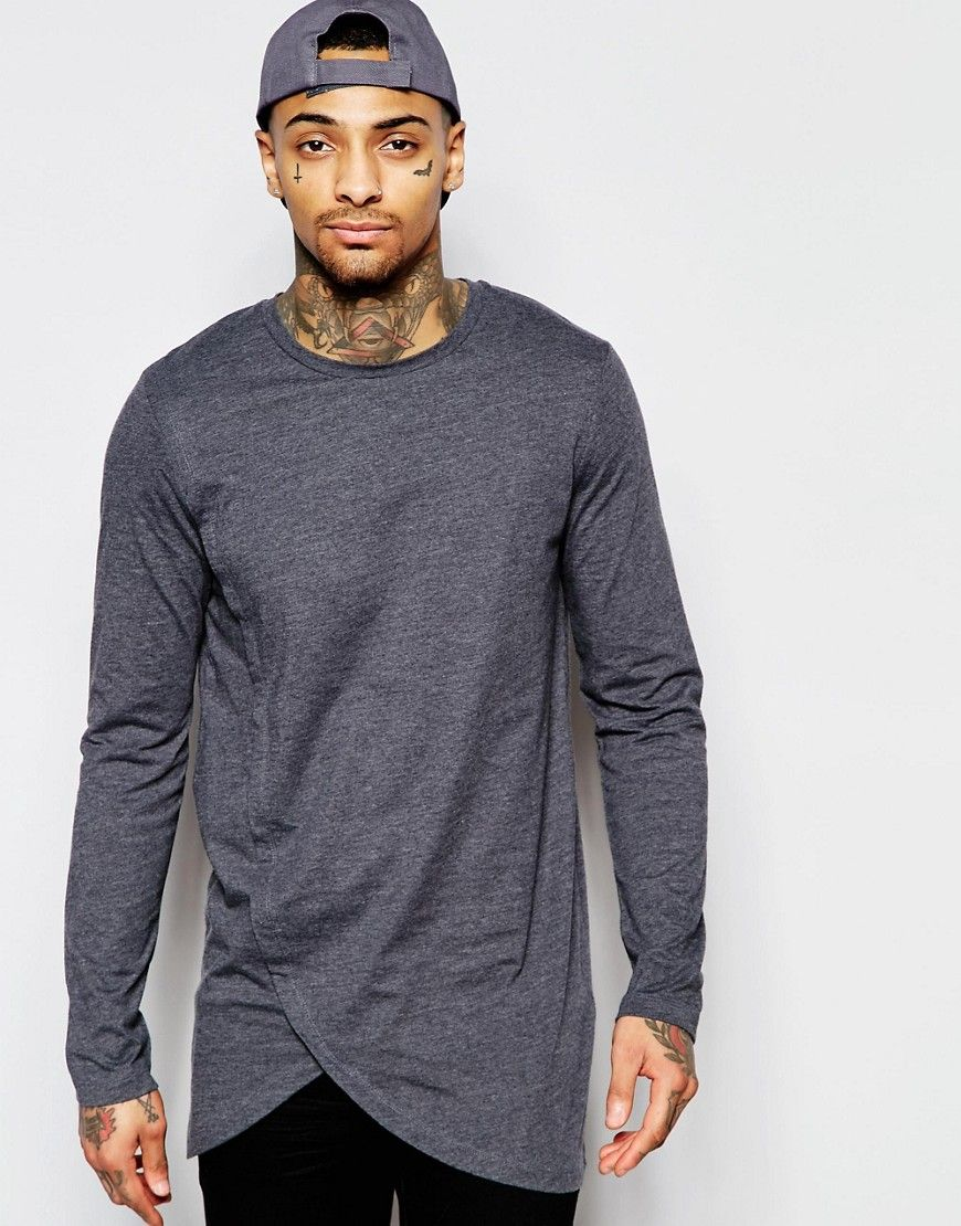 ASOS Longline Long Sleeve T-Shirt With Asymmetric Curve Hem at asos.com