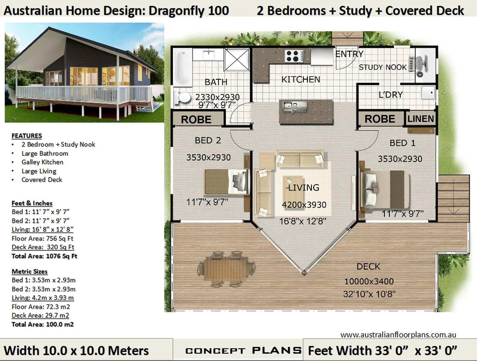 Diy Granny Flat 2 Bed Study Small Home Design Kit Home Plans On Timber Floor 100m2 Or 1076 Sq Foot Buy Floor Plans Online Here Small House Log Cabin Floor Plans Buying Flooring