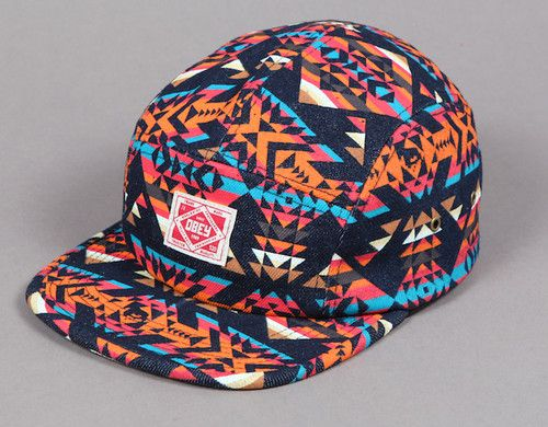 c926eca6cee Obey Navajo Tribal Native Multi Color 5 Panel Hat Clasp Back One Size Fits  All