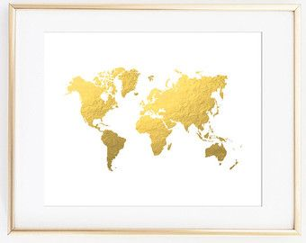 Gold world map wall decal gold office decor by twelve9printing gold world map wall decal gold office decor by twelve9printing gumiabroncs Images