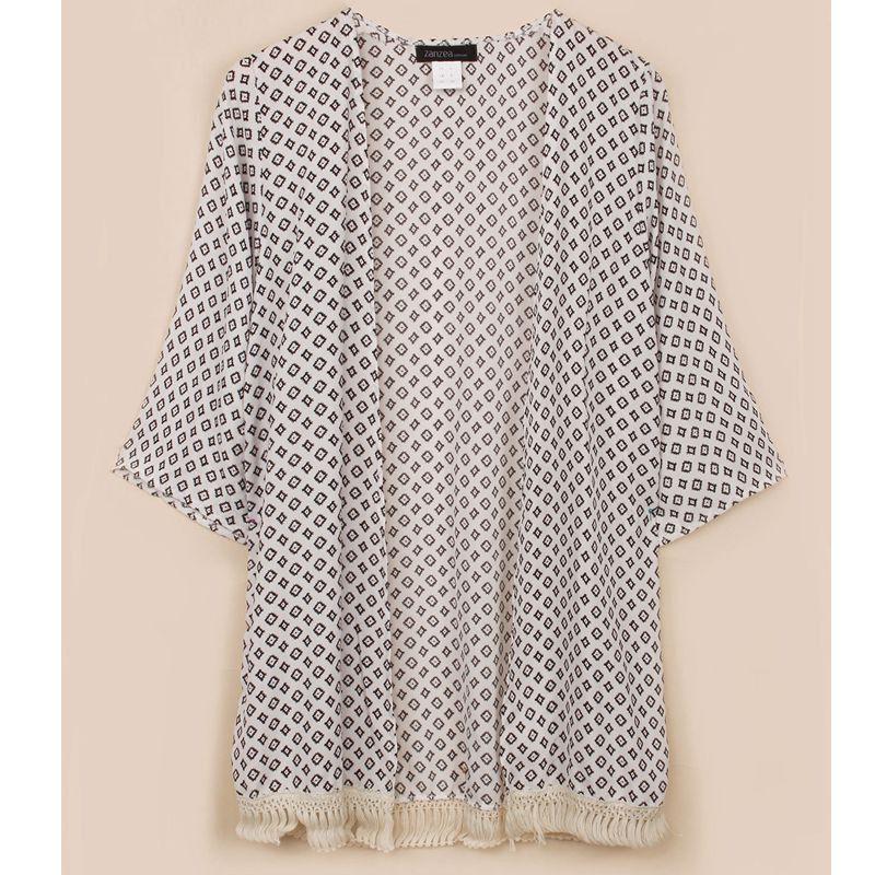 Summer Blusas 2016 Zanzea Women Tassel Kimono Vintage Plaid Printed Cardigan Casual Loose Batwing Sleeve Tops Femininas Blouses