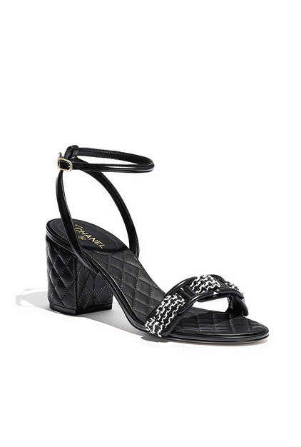 Sandálias, couro de cordeiro & tweed-preto & branco - CHANEL
