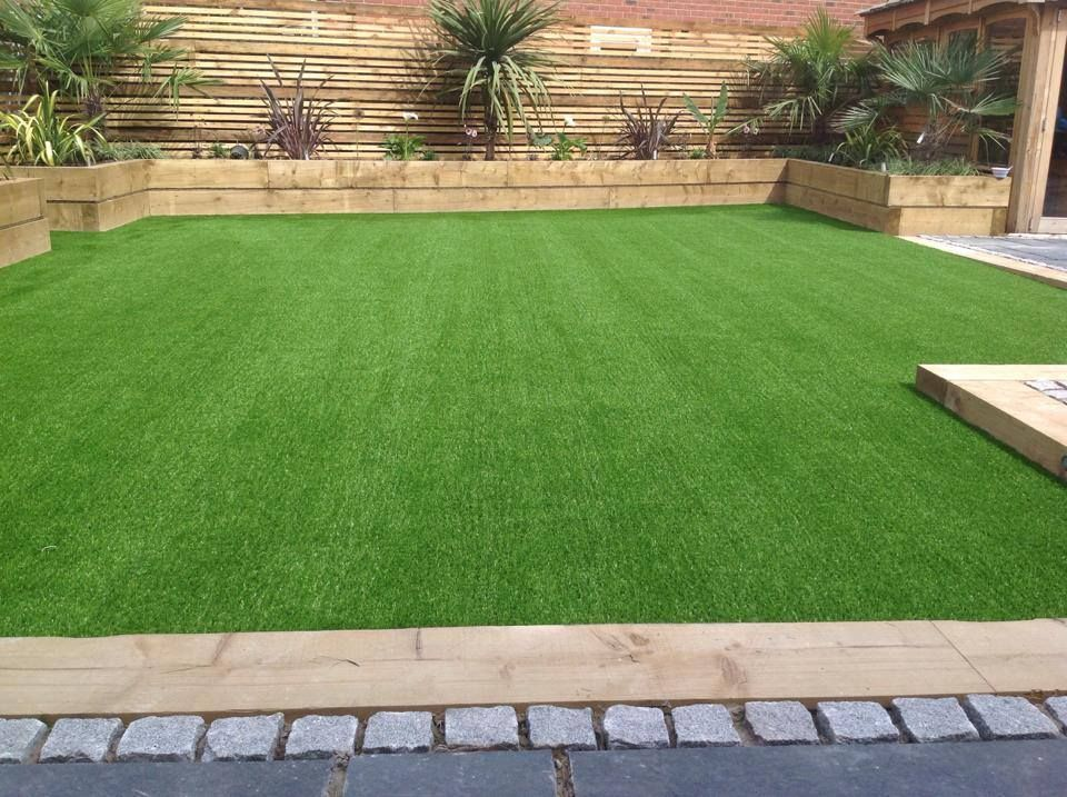 artificial grass and planters