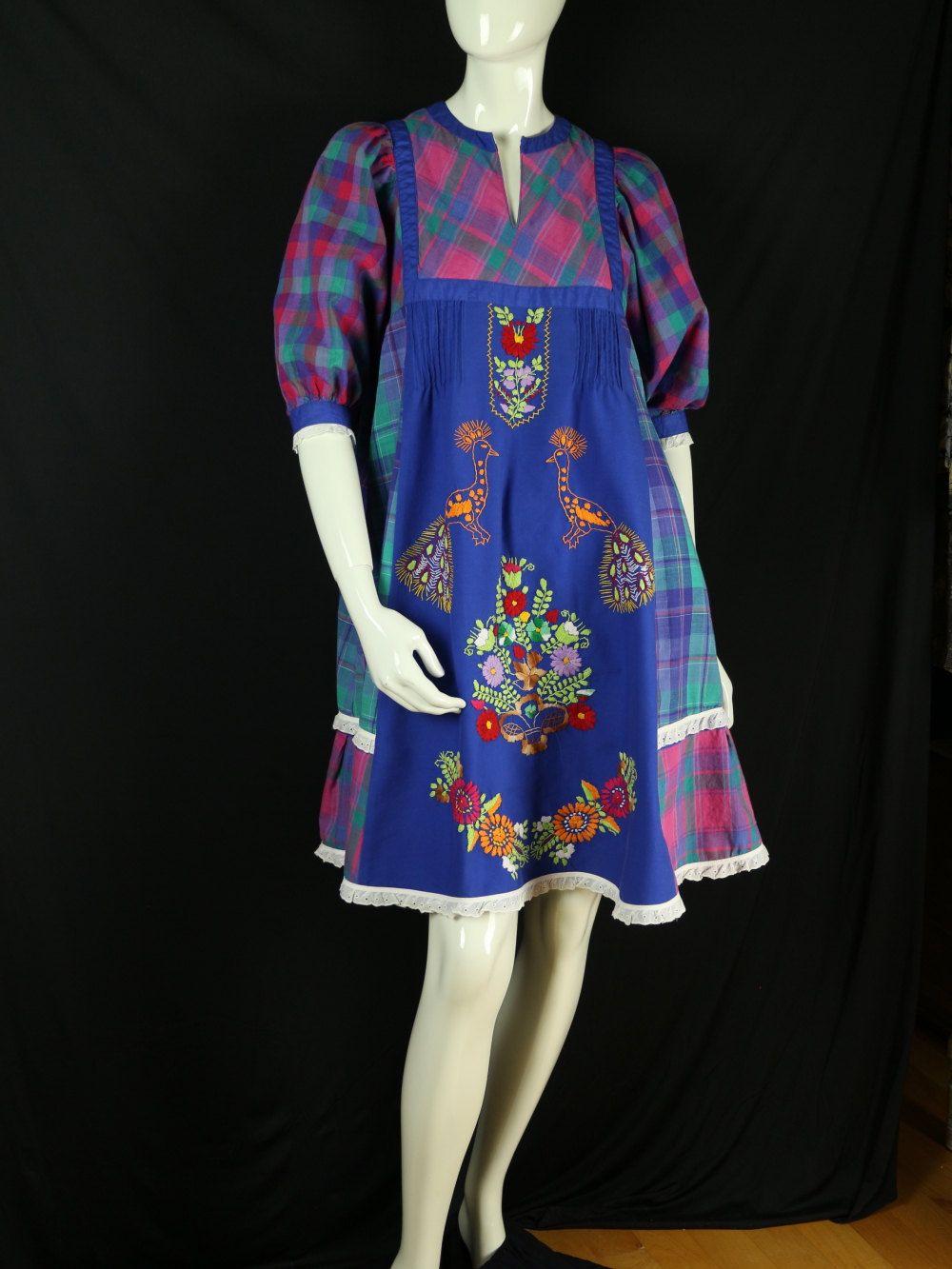 Boho mini dress Embroidered tunic Peasant dress by natatusy