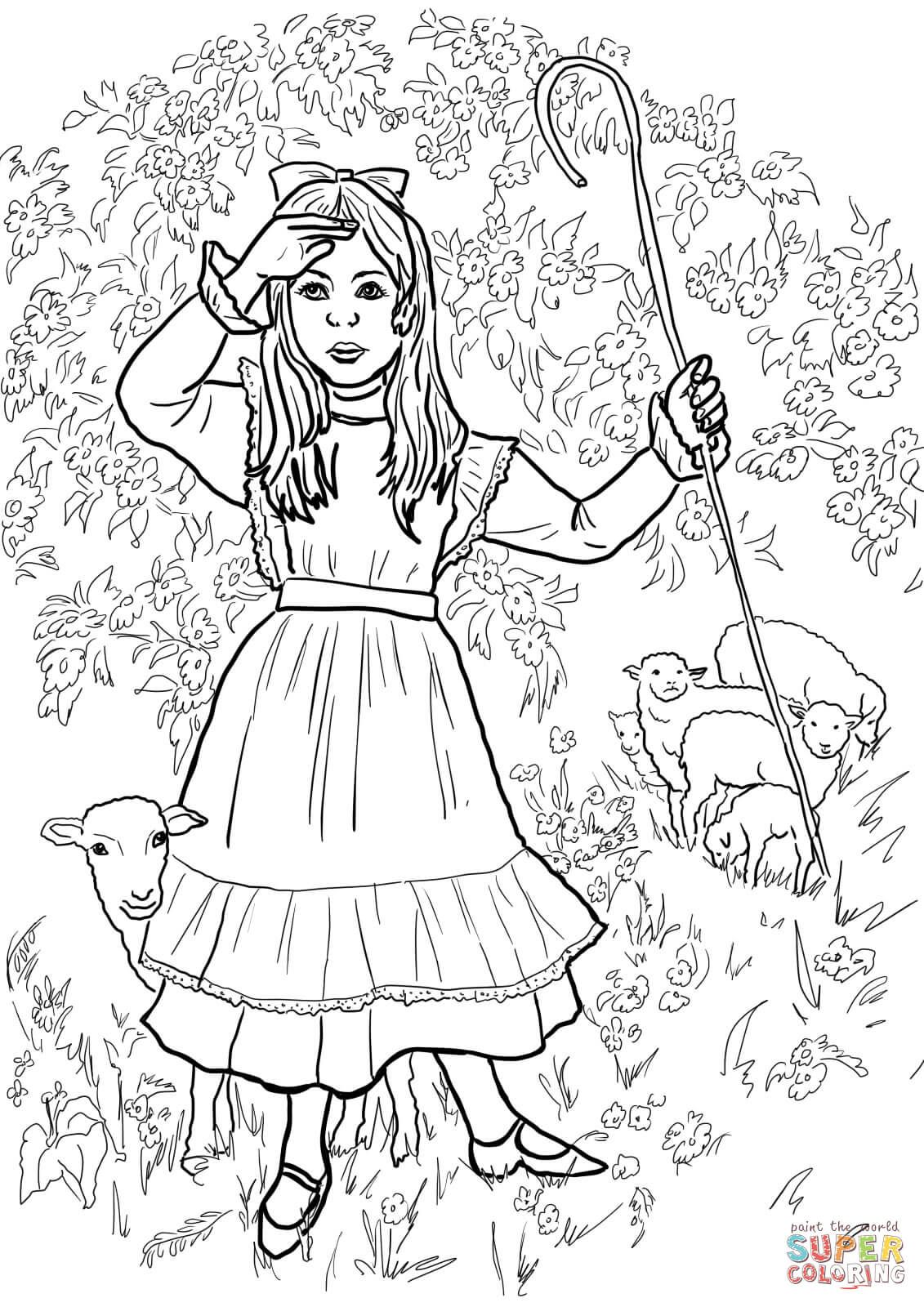 Little Bo Peep Nursery Rhyme Coloring Page Free Printable