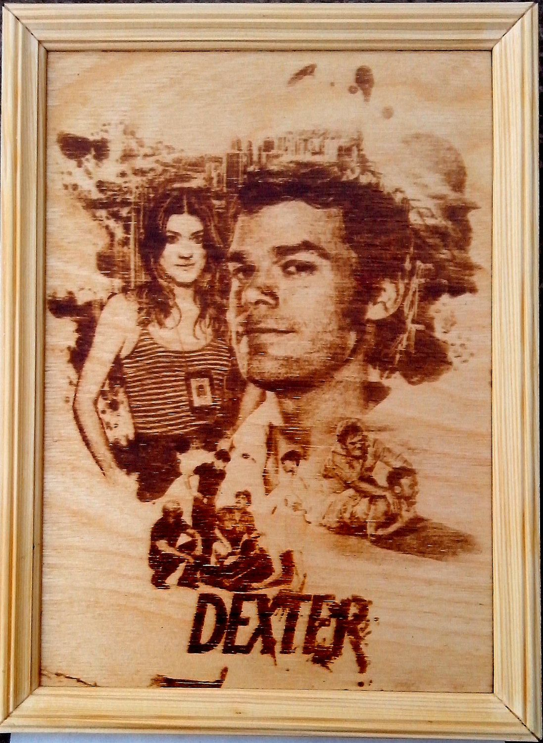Dexter and Debra Morgan pyrography. Dark passenger, wood, burning, burn, gift. by PyroWell on Etsy