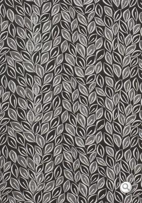 Half Drop Design Leaves Dark Grey With White Fabric