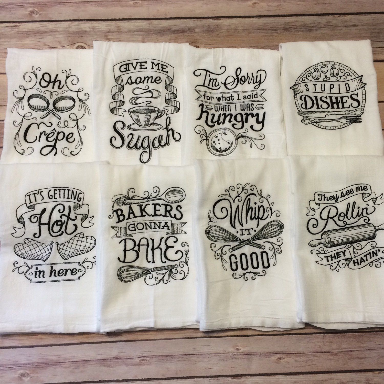 Choose any two embroidered flour sack towels by