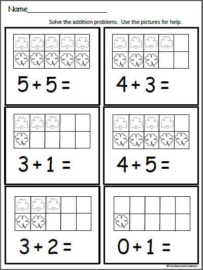 clover ten frame addition worksheet kindergarten math addition worksheets kindergarten. Black Bedroom Furniture Sets. Home Design Ideas