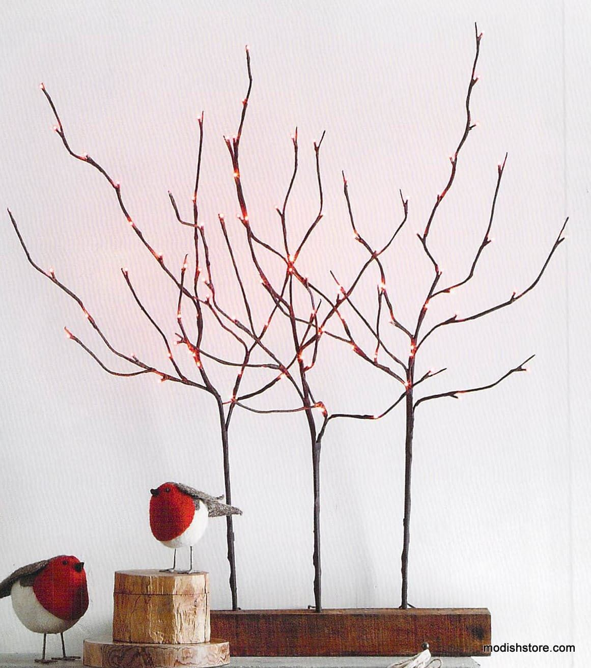 Roost Lighted Branches & Reclaimed Wood Plank Branch Holders | Wood ...