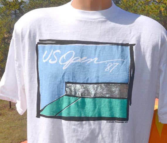 Vintage 80s Tee Us Open Tennis Tournament 1987 Ny T Shirt Long Sleeve Tshirt Men 80s Tees Shirts