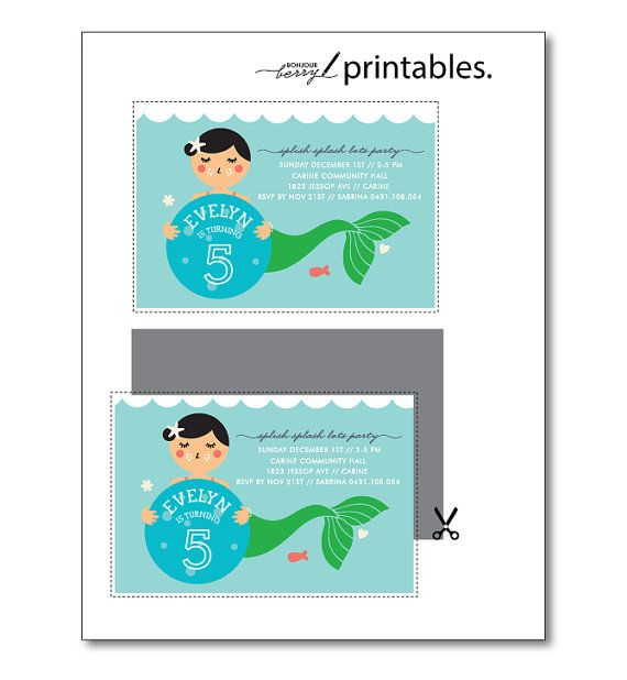 Mermaid Party Printable Invitation  4th 5th 6th by BonjourBerry, $16.00