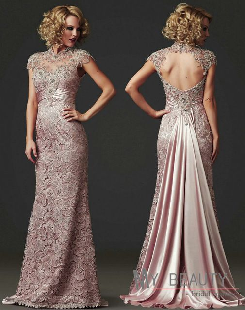 Hot Long High Neck Modest Prom Dresses With Sleeves Floor Length Beaded Backless Evening Formal