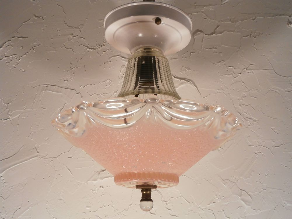 Vintage Glass Ceiling Light Lamp Fixture Frosted Pink Ribbons Bows Crystal 10 Glass Ceiling Lights Ceiling Lights Lamp Light