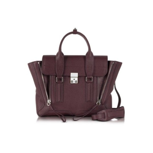3.1 Phillip Lim Handbags Black Cherry Pashli Medium Satchel (€855) ❤ liked on Polyvore featuring bags, handbags, bordeaux, zipper bag, cherry handbags, flap purse, 3.1 phillip lim handbag and zip bags