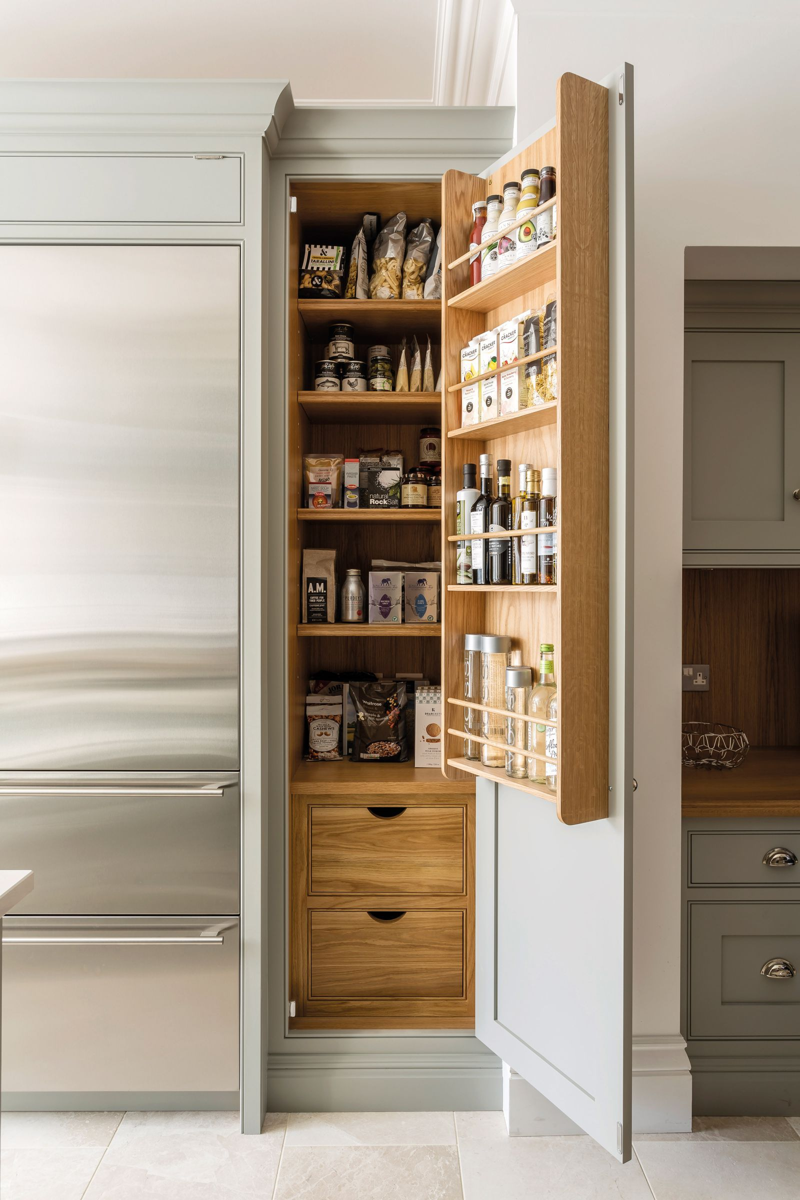 12 Stylish And Practical Pantry Ideas For Your Kitchen Narrow Pantry Kitchen Larder Cupboard Kitchen Larder