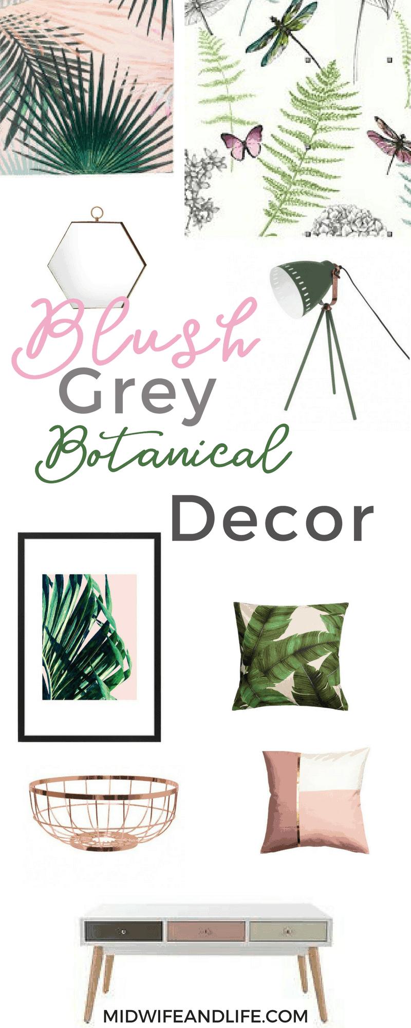 Botanical blush grey gold copper living u dining room interior