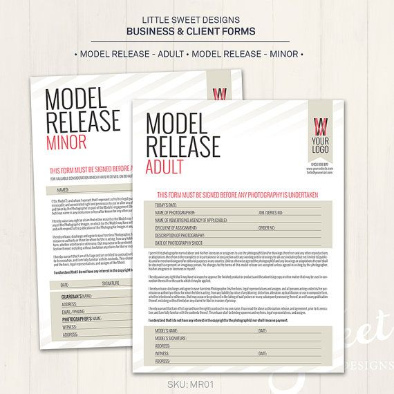 Photography Model Release Forms (Adult \ Minor) - Photoshop - model release form in pdf