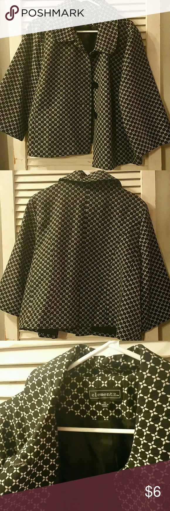 Black and White blazer Elementz XL blazer. Only worn once. Has large arms that give a casual look to this blazer. Hits around waist level. elementz Jackets & Coats Blazers