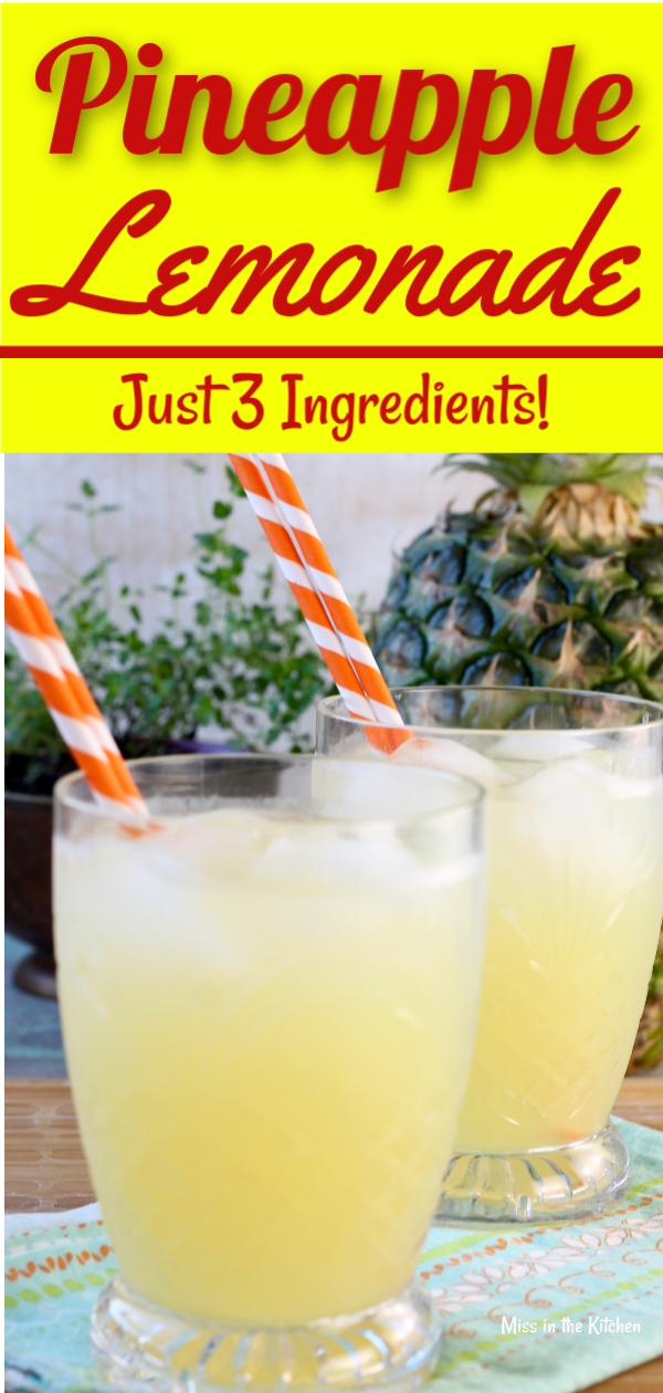 Pineapple Lemonade is an easy and delicious drink for any time of year. A fun twist on classic lemonade for all of your parties, baby showers, holidays and fun get togethers. The perfect party punch for kids and adults! #partydrinks #lemonade #pineapplelemonade