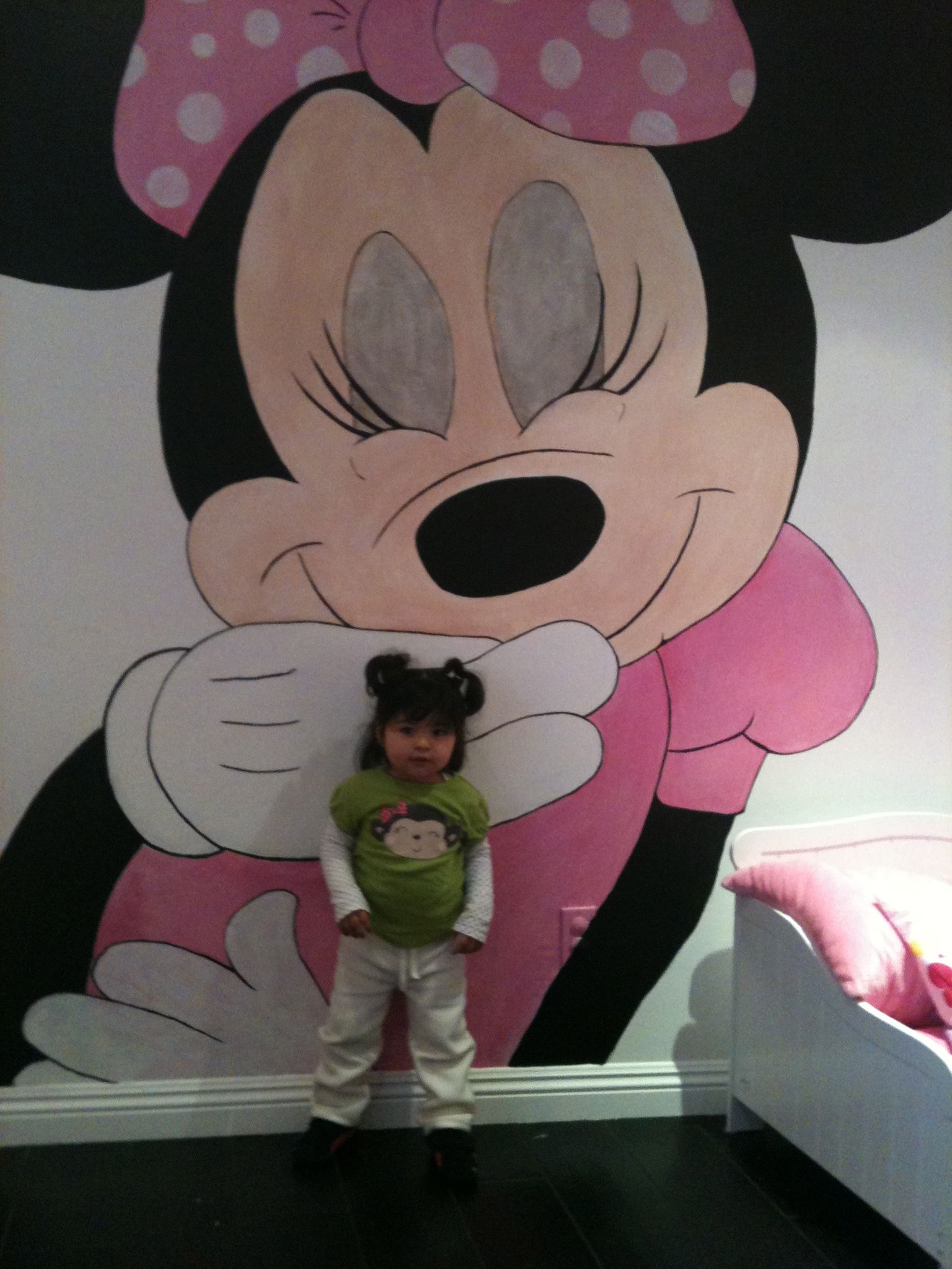 Minnie Mouse Mural Makes Small Rooms Bigger-wall murals - childrens murals  | Murals For
