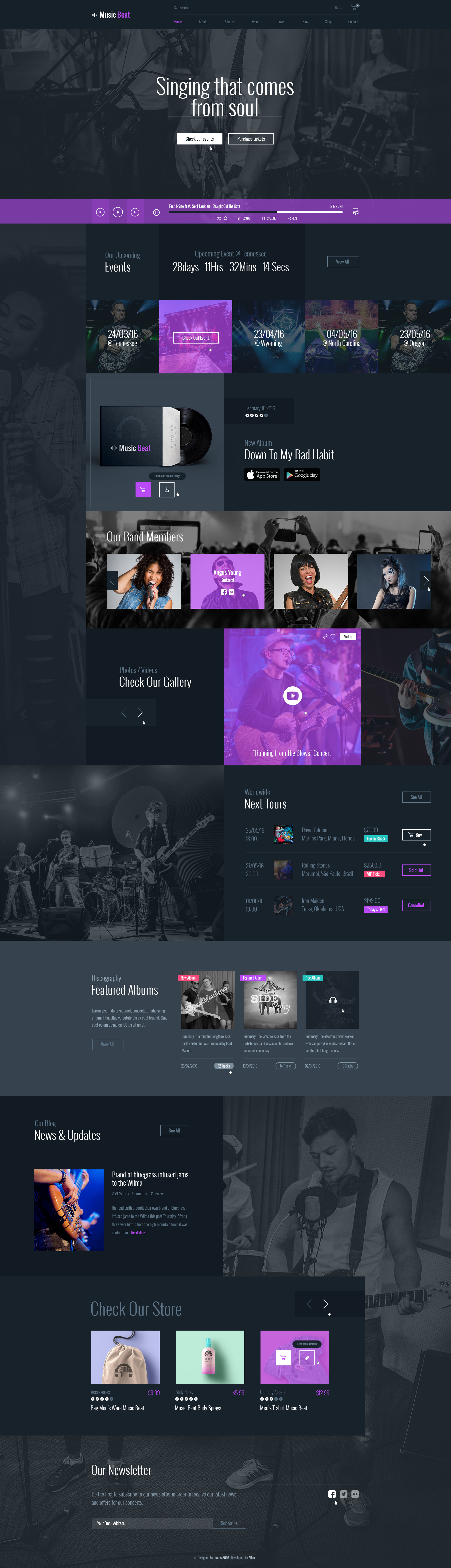 MusicBeat designed by #diadea3007 for #music bands #artist #website #multipurpose #purple #html