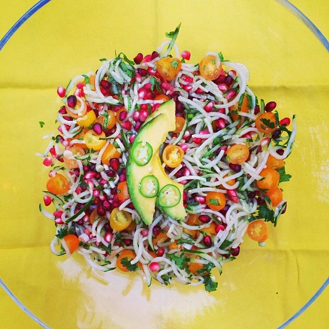 """Dynamic Orange Tomato Dressing Video Raw Vegan Recipe: """"Fresh, Sweet, And Spicy!! Cucumber Noodles, Goldy"""