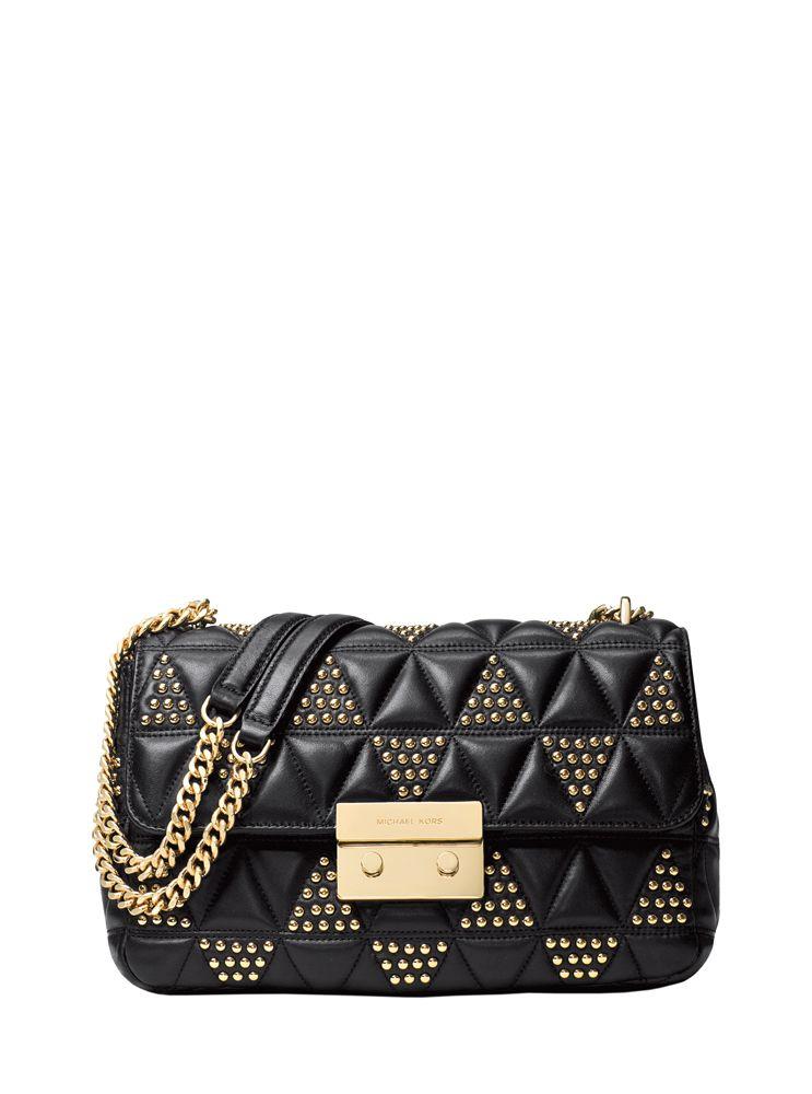5f4db874ab87 MICHAEL Michael Kors Black Sloan Large Studded Leather Shoulder Bag