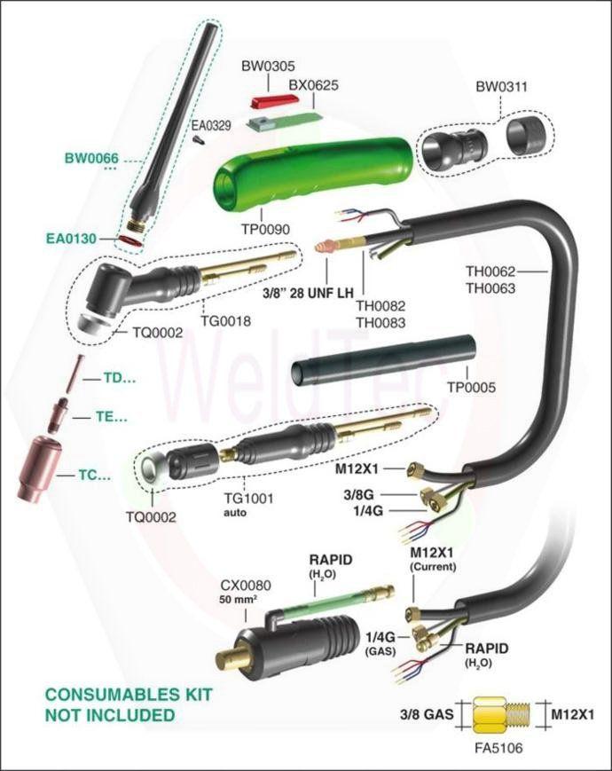 tig torch parts … | WELDING …