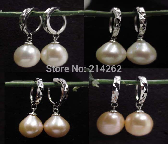 b6f541ad5da1 Encontrar Más Pendientes Largos Información acerca de Envío gratis 11 mm perlas  cultivadas de agua dulce cuelga el pendiente más color B32