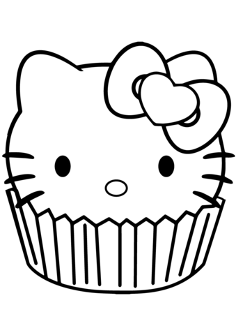 Hello Kitty Cupcake Coloring page | Hello kitty Love | Coloring ...