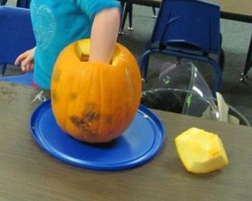 Kids can clean out the pumpkins to feel how slippery it is and if they can get it all out.