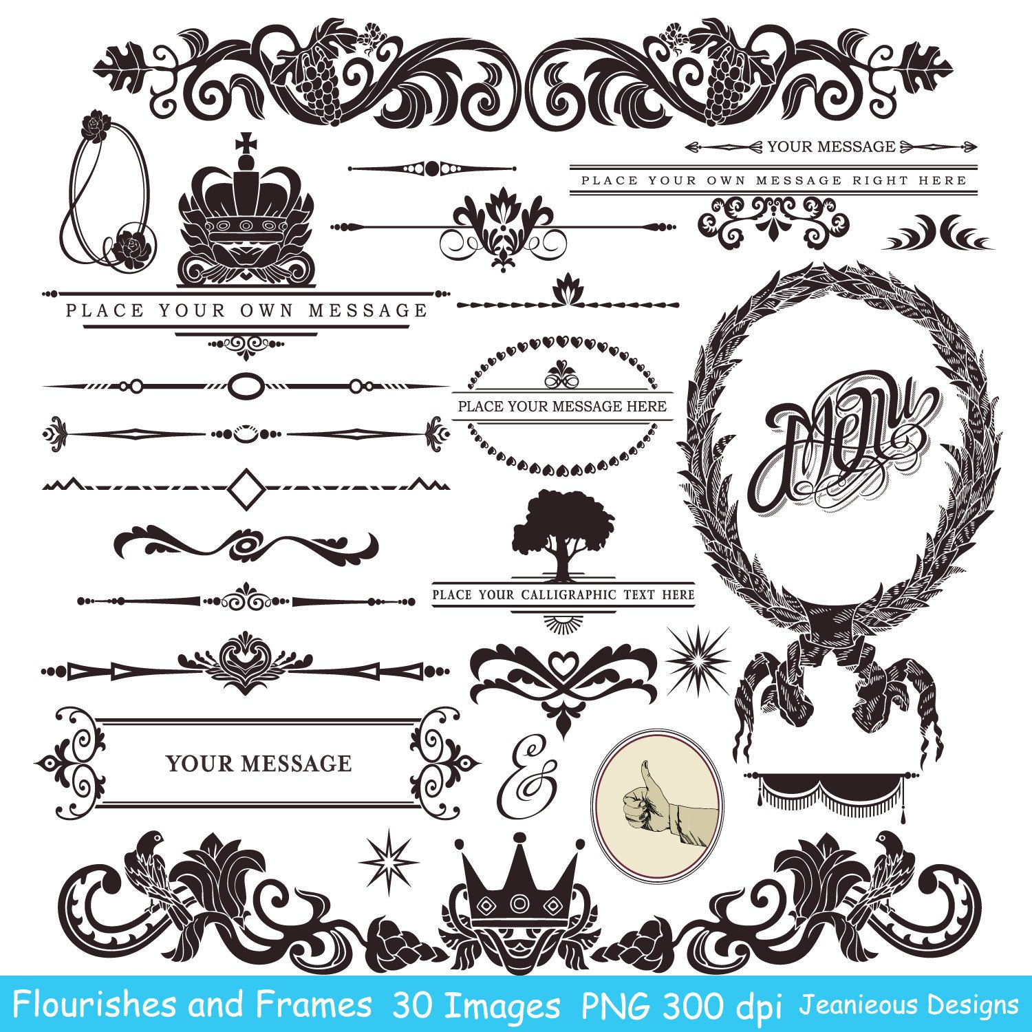 Vintage calligraphy clip art design style elements wedding