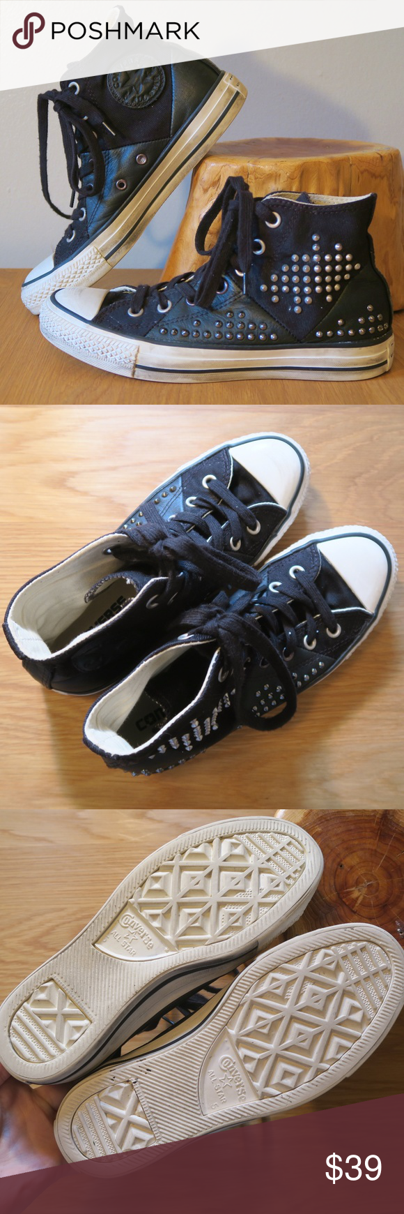 0f0dad5b1ede  Converse  Chuck Taylor Elevated Stud Hi Tops 7 Converse Chuck Taylor All  Star Elevated Stud Hi Top Sneakers Size 7   Black canvas and leather panels    ...