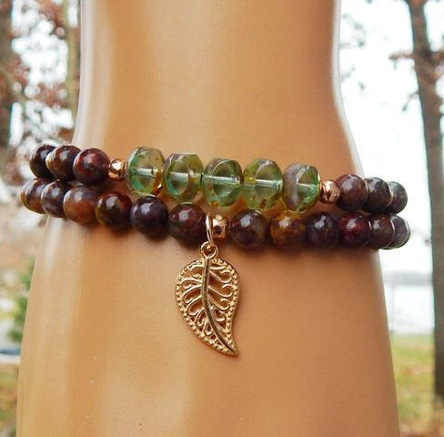 Nature Inspired leaf bracelet made with gorgeous 8mm Central Cut Picasso Czech beads surrounded by 6mm Pietersite gemstones, complimented by a rose gold Leaf Charm. High quality, beautiful to wear eve