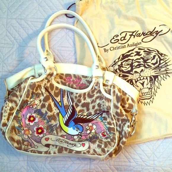 ED HARDY purse ❣ 3 zipper compartments. Silver hardware and stud detail. Detail images on both sides of the purse. Ed Hardy Bags Totes