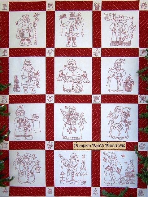 PINTEREST REDWORK SANTA Here Comes Santa Redwork Quilt Redwork and patterns Quilts ...