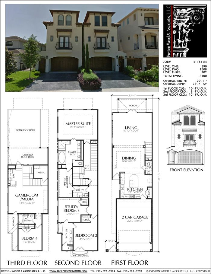Townhouse Plan E1161 A4 Town House Floor Plan Town House Plans Townhouse Designs