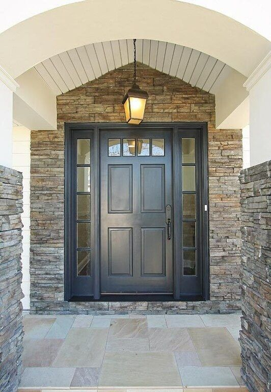 Stone Front Homes 21 cool blue front doors for residential homes | dark doors, stone