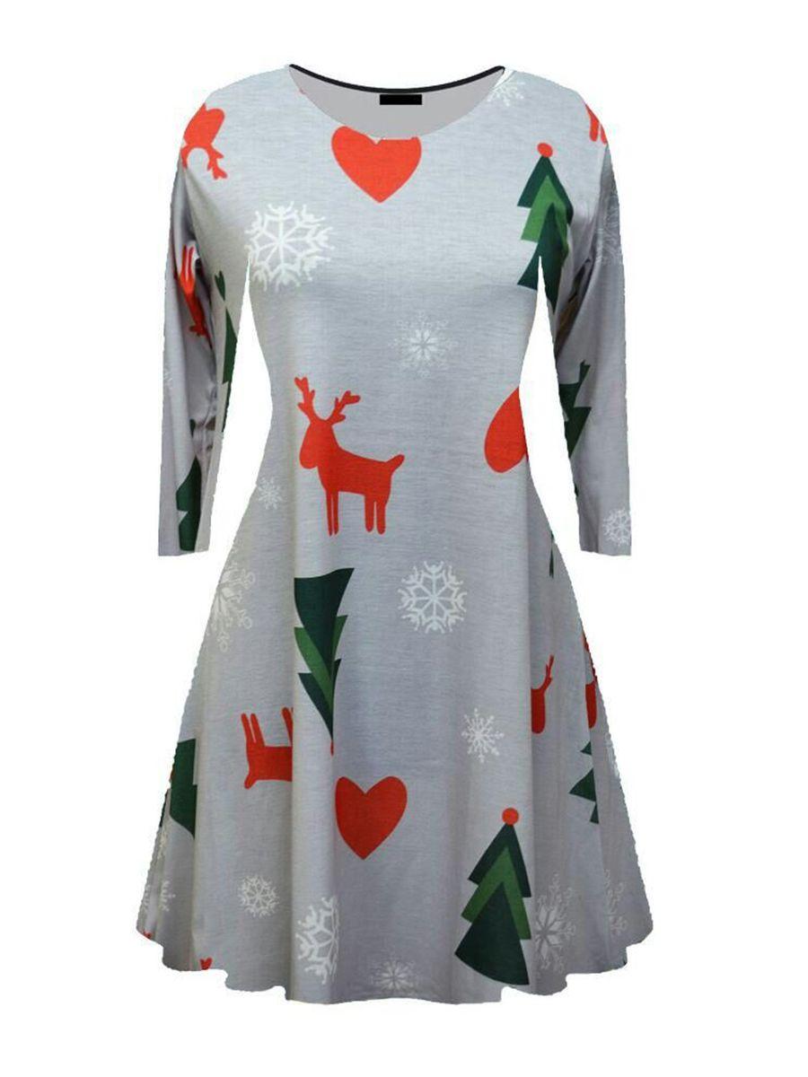 Christmas Pattern Long Sleeve Women S Day Dress Long Sleeve Print Dress Ladies Day Dresses Christmas Dress Women [ 1200 x 900 Pixel ]