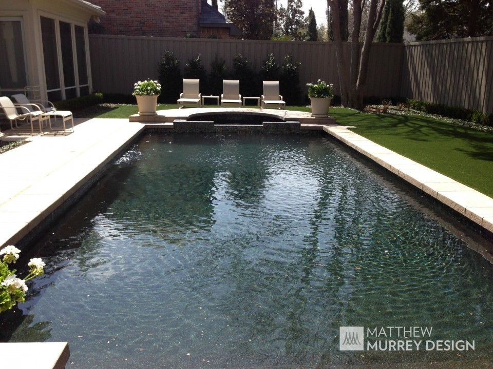 Classic contemporary pool patterned concrete coping black onyx