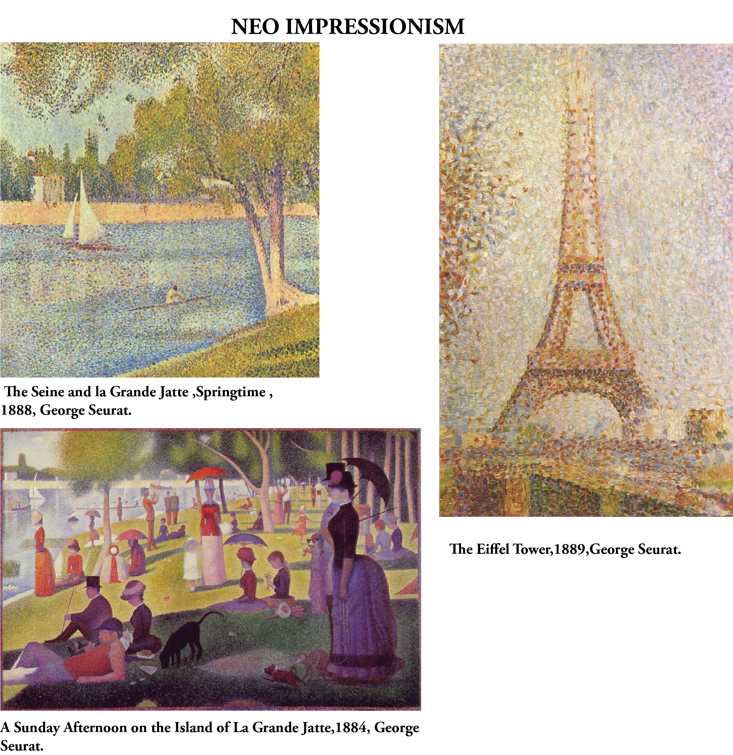 NEO-IMPRESSIONISM 1886-1906. This movement took the colours and themes of Impressionism, but rejected the Impressionists' temporary treatment of their subjects. They took a more systematic approach to art. They focused on the division of color and vision, breaking things down to a more fundamental and basic level. A glow radiates from the minuscule dots, all the same size, that are packed together to create a specific hue on the canvas. George Seurat was known for his paintings in this…