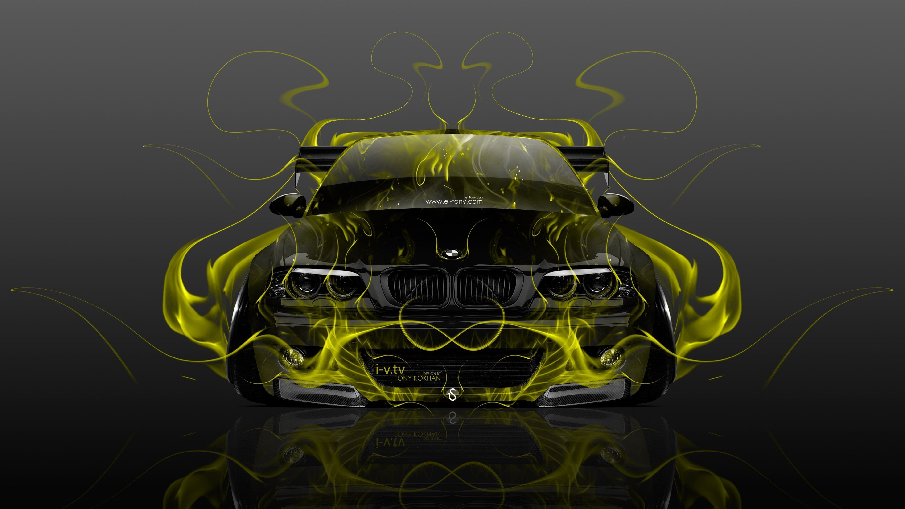 Charming BMW M3 E46 Tuning Front Fire Abstract Car 2015 Wallpapers El Tony .