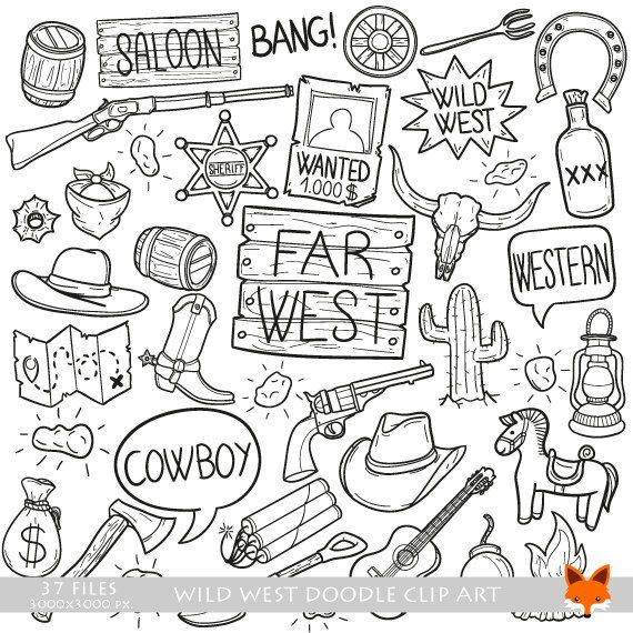 Wild West Cowboy Farwest Western Adventure Objects Doodle