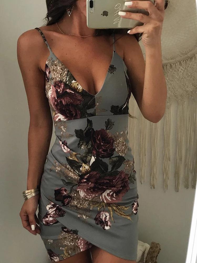 Irregular floral print backless bodycon slip dress