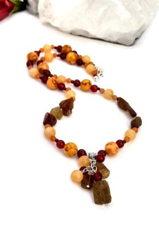 Earthy Garnet & Mixed stone necklace.  Perfect for bohemian chicks.