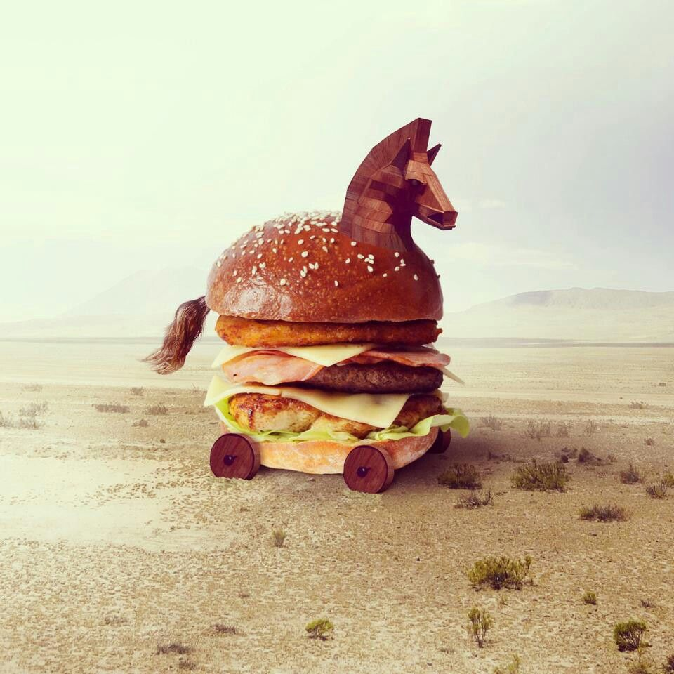 was it horse meat that gave the idea of trojan burger?
